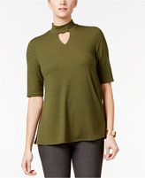 NY Collection Mock-Neck Swing Top