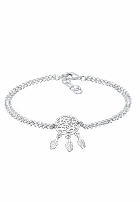 Elli Women's 925 Sterling Silver Boho Dream Catcher Feather Gypsy Hippie Festival Bracelet of Length 16 cm