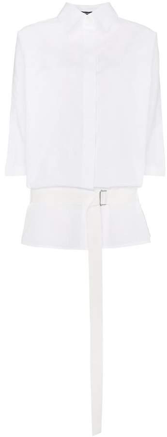 Ann Demeulemeester oversized belted cotton shirt