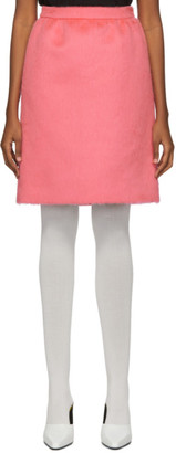 Marc Jacobs Pink Faux-Fur Gathered Straight Skirt