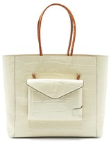 STAUD Linda Crocodile-embossed Leather Tote Bag - Womens - Cream Multi