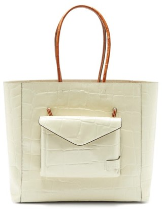 STAUD Linda Crocodile-effect Leather Tote Bag - Womens - Cream Multi