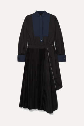 Sacai Belted Pleated Poplin And Pique Midi Dress - Black