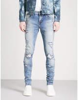 Embellish Side-stripe Distressed Slim-fit Skinny Jeans