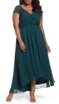 Eliza J Plus Size Women's Embellished Pleated Chiffon Gown