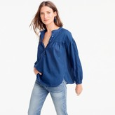 J.Crew Petite gathered top in indigo gauze