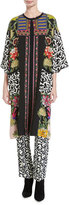 Etro Floral & Geometric-Print Viscose Topper Coat, Pink/Multicolor