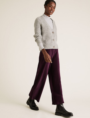 Marks and Spencer Jersey Corduroy Wide Leg Trousers