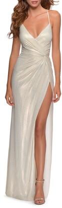 La Femme Glitter Knot Detail Jersey Gown