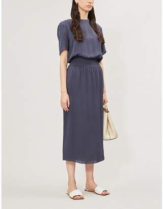 Theory Ribbed-detail silk-crepe dress