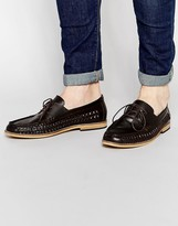 Frank Wright Woven Loafers In Brown