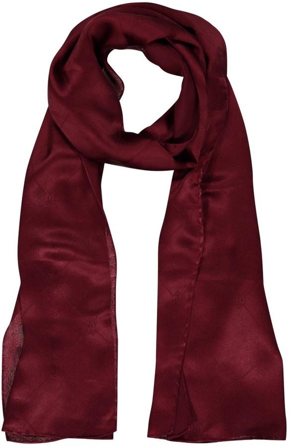 Cartier Vintage Burgundy Silk Scarves