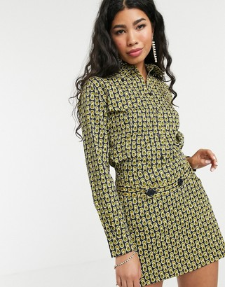 People Tree x V&A archive tile print shirt two-piece