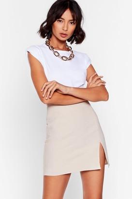 Nasty Gal Womens Slit to the Basics High-Waisted Mini Skirt - Beige - L