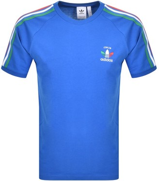 adidas 3 Stripe Italia T Shirt Blue