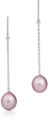 Tiffany & Co. Elsa Peretti Pearls by the YardTM drop earrings in silver with pink pearls