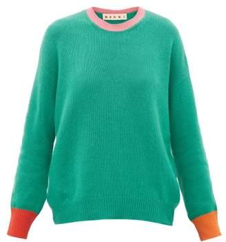 Marni Colourblock Cashmere Sweater - Womens - Green Multi