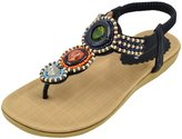 Azbro Women's Slingback T-Strap Beading Ankle Strap Thong Sandals