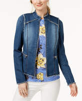 INC International Concepts I.n.c. Lace-Up-Back Denim Jacket, Created for Macy's