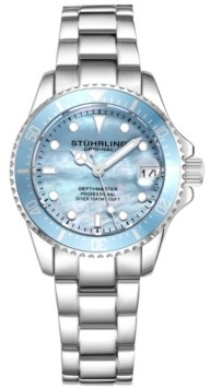 Stuhrling Original Women's Silver Tone Stainless Steel Bracelet Watch 32mm