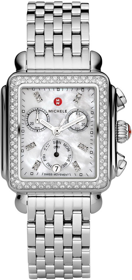 Michele Deco 18 Stainless Steel Diamond Bracelet Watch