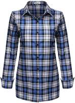 Meaneor Women's Casual Check Loose Fit Rolled up Sleeve Plaid Fashion Mid Long Top Shirt ( S)