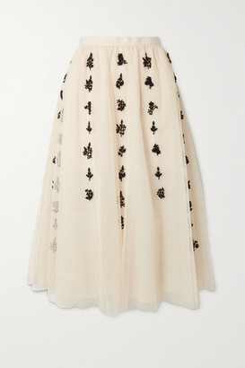 RED Valentino Bead-embellished Embroidered Tulle Midi Skirt - Ivory