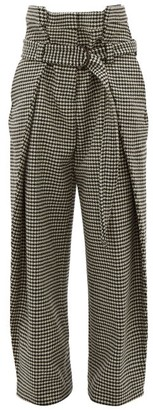 Hillier Bartley Tailored Houndstooth Wool Trousers - Black Cream