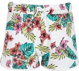 River Island Girls White tropical print pom pom shorts