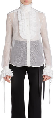 UNTTLD Mesh Tuxedo Blouse with Ruffle Trim