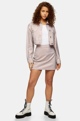 Topshop Womens Pink Crystal Pink Denim Mini Skirt - Pink