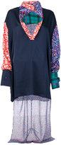 Esteban Cortazar asymmetric multi-pattern blouse