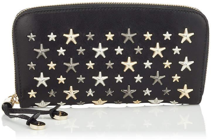 Jimmy Choo FILIPA Black Leather Zip Around Wallet with Multi Metallic Stars