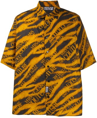 Versace Tiger Print Short-Sleeve Shirt