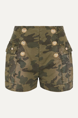Balmain Button-embellished Camouflage-print Cotton-blend Shorts - Army green