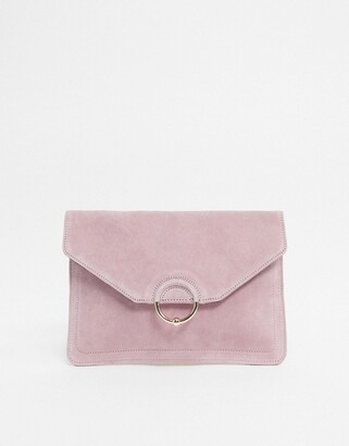 Asos DESIGN SUEDE clutch bag with ring and ball detail