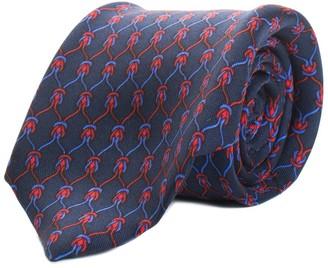 Hermes Blue Printed Silk Tie