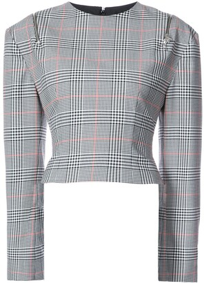 Monse Glen Plaid Shoulder-Zip Top