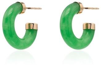 Loren Stewart 14kt gold jade mini hoops