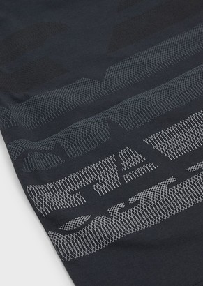 Emporio Armani Jersey T-Shirt With Oversized Op Art Eagle Motif
