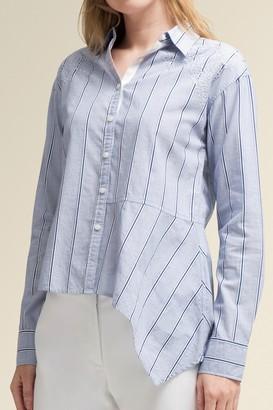 Donna Karan Long Sleeve Eyelet Button Down Shirt