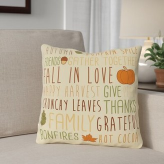 "The Holiday Aisleâ® Harvest Word Collage Throw Pillow The Holiday AisleA Size: 16"" x 16"", Color: Orange/Red"