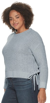 Candies Juniors' Plus Size Candie's Solid High-Low Pullover Sweater