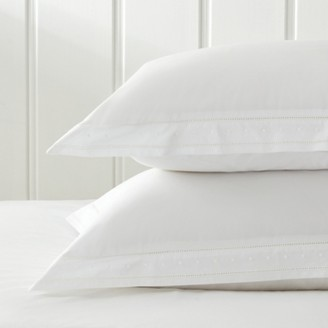 The White Company Oxford Pillowcase with Border - Single, White, Large Square