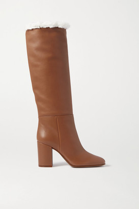 Gianvito Rossi 85 Faux Shearling-lined Leather Knee Boots - Tan