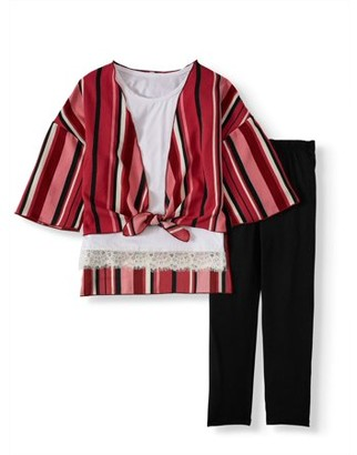 LTB Instagirl Little & Big Girls' Kimono, Tank and Leggings, 3-Pc. Set with Necklace