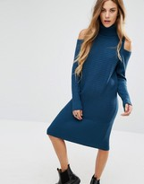 Noisy May Cold Shoulder Roll Neck Knit Sweater Dress