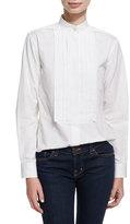 Alexa Chung Pleated Placket Long-Sleeve Tuxedo Shirt
