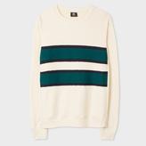 Paul Smith Men's Ecru Cotton Contrast-Stripe Sweatshirt