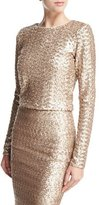 Alice + Olivia Lebell Sequined Long-Sleeve Crop Top, Light Pink